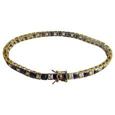 Vintage Lab Created Synthetic Blue Sapphire Silver GP and Cubic Zirconia Square Gem Tennis Link Bracelet