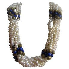 Vintage GP Simulated Freshwater Pearl and Simulated Lapis Torsade Necklace