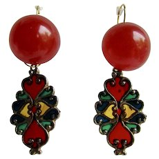 Little Creations Red Bakelite Dome Cabochon with Resin Stained Glass Drop Lever Back Pierced Earrings
