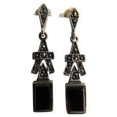 Vintage Sterling Silver and Onyx with Marcasites Geometric Pierced Earrings
