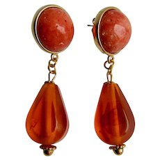 LC GP Sponge Coral Cabochon with Natural Amber Drops Pierced Earrings