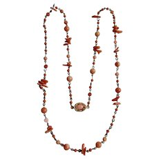 Vintage 18kt GP Angel Skin Coral Branch and Carved Beads on Wire with Cabochon Necklace