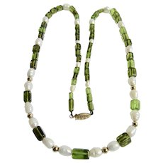 Vintage 10kt Peridot Cube Beads with Cultured Freshwater Pearl 24 Inch Necklace