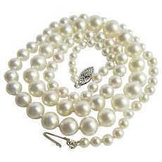 Vintage 10K WG Diamond Clasp with  Japanese Akoya Cultured Pearls AA Quality 3.5-7.50mm Graduated Necklace