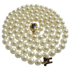Vintage 18kt GP Very Fine A Plus Cultured Pearl 30 Inch 6mm to 6.5mm Bead Necklace