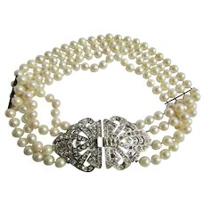 Vintage Signed Kenneth Lane AA Very Fine Cultured Pearl with Paste Stones in the Clasp Centerpiece 4 Strand Choker Necklace