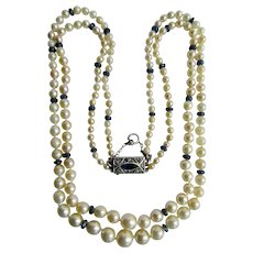 Vintage Sterling Sapphire Natural Pearl Graduated Double Strand Necklace