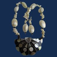 Vintage Mother of Pearl on Resin Pendant Necklace and Pierced Earrings