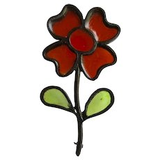 Vintage Unsigned Resin Stained Glass Large Scale Heavy Black Metal Frame Flower Brooch