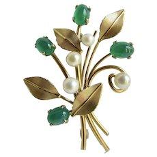 Vintage Signed Krementz Gold Overlay Flower Stem Leaf Motif Cultured Pearl and Green Glass Cabochon Brooch