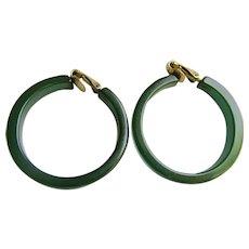 Art Deco Translucent Prystal Bakelite Teal Green Large Hoop GP Clip Earrings