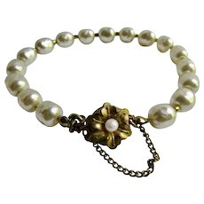 Vintage Simulated Baroque Pearl Box Clasp Safety Catch Bracelet