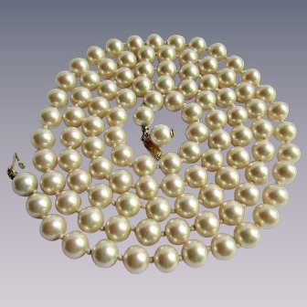 Vintage Signed Marvella Simulated Pearl Flapper Length Pearl Necklace