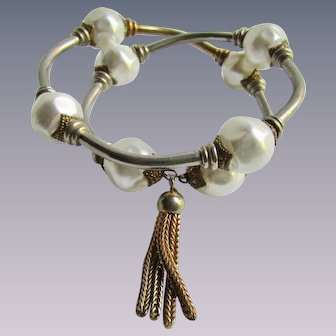 Vintage Simulated Baroque Pearl Wrap Memory Wire Bracelet with Tassel End