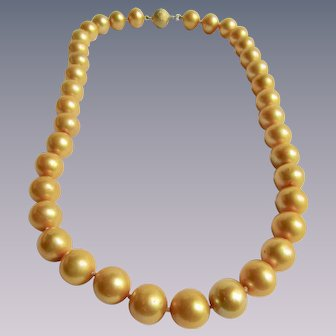 Vintage GP Golden South Sea Enhanced Graduated 10.50-11mm Cultured Pearl Necklace