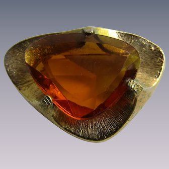 Mid Century Simulated Topaz Triangle Style Paste Gem Brooch