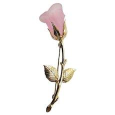 Vintage GP Transparent Pink Cellulose Acetate  Rose Stem Brooch