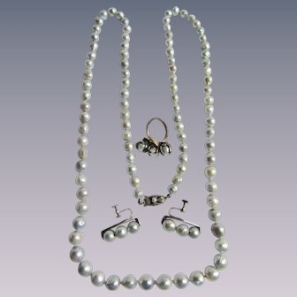 Vintage Japanese Fuji Co. Dyed Grey Cultured Baroque Pearl 850 Silver Set with Original box