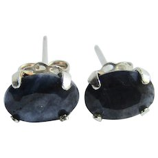 Vintage Genuine Blue Sapphire Pierced Earrings in Silver 4 Prong Setting
