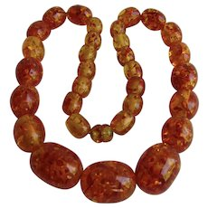 Vintage Clarified Natural Baltic Amber Graduated Oblong Beads Necklace