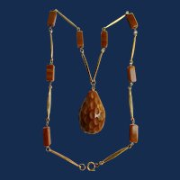 ART Deco Carmel BAKELITE Carved Abstract Pendant with station GP Necklace