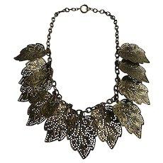 Vintage Sculptural Gilt Patterned and Pierced Leaf Chain Necklace
