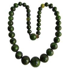 Vintage Marbled Green Bakelite Graduated Bead Necklace