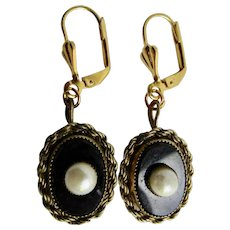 Vintage Onyx GP with Sawtooth Set Natural Pearl and GP Leverback Pierced Earrings