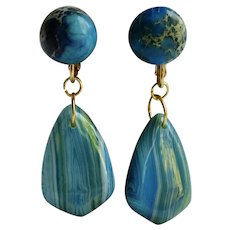 Little Creations Jasper and Agate Turquoise Color Palate GP Omega Pierced Earrings