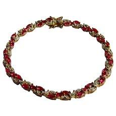 Vintage Genuine Ruby and Diamond Sterling Silver GP Tennis Bracelet