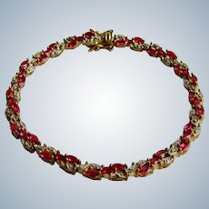 Vintage Genuine Ruby Marquise and Diamond Sterling Silver GP Tennis Bracelet
