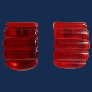 Art Deco Red Prystal Bakelite Sculptural Geometric Carved and Curved Dress Clips