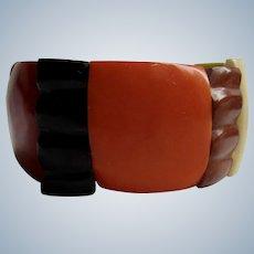 Vintage Resin Earthtone Elastic Stretch Link Bracelet
