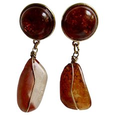 Little Creations Natural Amber Clarified with Agate Drops Pierced Earrings