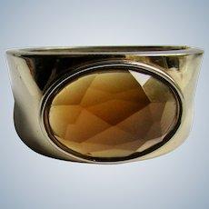 Vintage Glass Paste Large Simulated Topaz Gem Spring loaded Bracelet