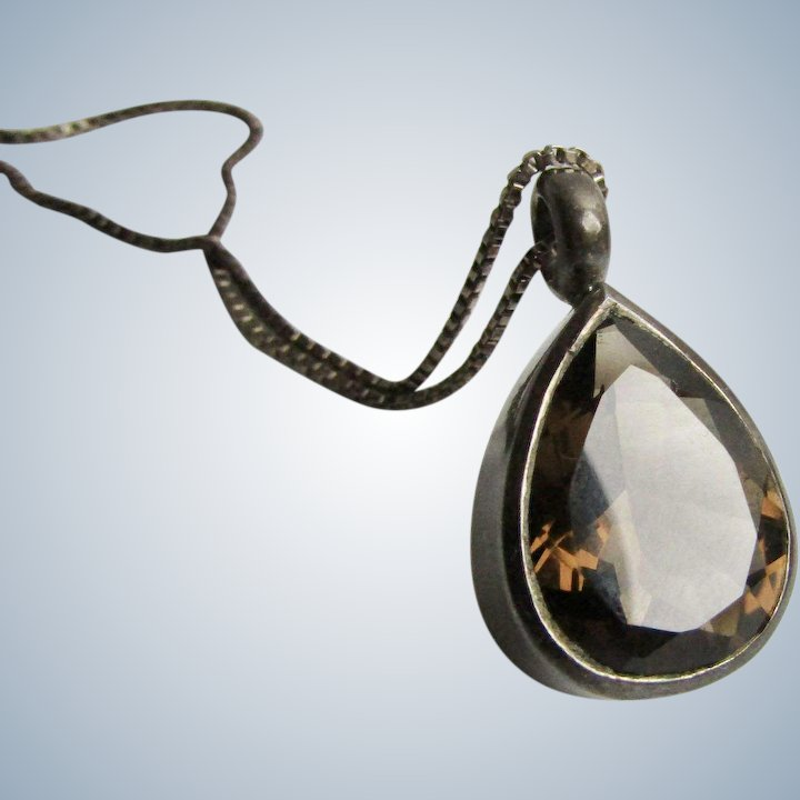 Vintage Pear Shape Dark Topaz Sterling Box Chain and Pendant Necklace