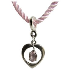 Vintage Sterling Heart with Dainty Pink Rose Quartz Oval Gem on Silk Cord Pendant Necklace