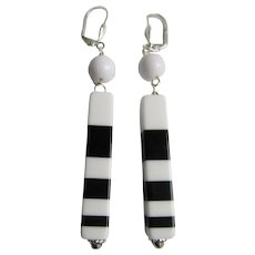 Little Creations Lucite Black and White Striped SP Leverback Earrings