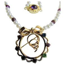 Little Creations 18kt GP Amethyst Cabochon Pink Tourmaline Beads AA Cultured Pearls and 18kt GF Circle with Bow Paste Brooch Pendant
