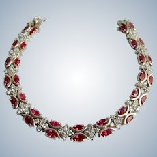 Vintage GP Sterling Silver Lab Created Ruby Marquise Double Locking Clasp Tennis Bracelet