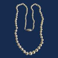 Vintage Natural Pearl 850 Silver Clasp Graduated Semi Baroque Pearl Necklace