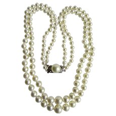 Vintage 14k Akoya Cultured Pearl Graduated 2 Strand Double AA Fine Quality Necklace