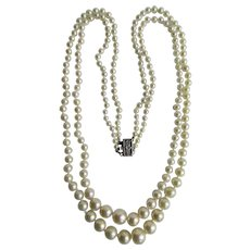 Vintage 10K Akoya Cultured Pearl Double 2 strand Graduated Knotted A Plus Quality Necklace