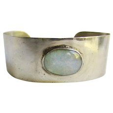 Vintage Hand Crafted 850 Silver with Large 27mm Oval Opal Cuff Bracelet