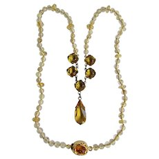 Little Creations 18kt GP Amber with Rutilated Quartz Rondelles with Round and Pendeloque Paste Drop Festooned Necklace