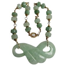 Vintage 18kt GP Carved Nephrite Jade Infinity Fan Pendant and Lozenges Bead Opal Cabochon Necklace