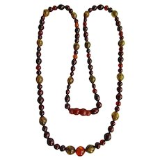 Vintage Baltic Natural Clarified and Reformed Amber Red Wine/ Golden/ Green 35 inches / 33 grams/ Necklace