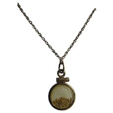 Victorian Era Western Gold Rush Glass Locket with Gold Shavings on GP Chain