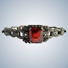 Vintage Lab Created Rare Rutile and Marcasite Encrusted Sterling Bracelet