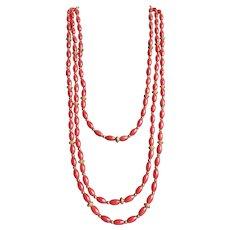 Vintage Red Orange Dyed Coral 3 Strand GP Graduating Necklace